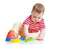 Baby playing with cup toys Royalty Free Stock Photography
