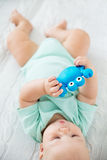 Baby playing and discovery Royalty Free Stock Photos