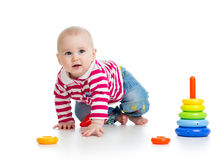 Baby playing with educational toy Stock Photos
