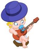 Baby playing guitar Stock Photos