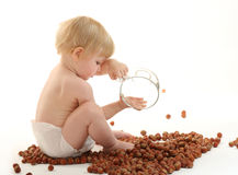 Baby playing with hazelnuts Stock Images