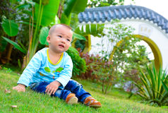 A baby playing on the lawn(Asia, China, Chinese) Stock Images
