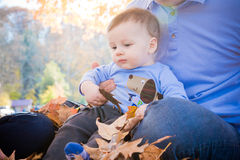 Baby Playing in Leaves Stock Photos