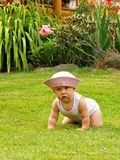 Baby playing outdoor. In the garden on grass Royalty Free Stock Image