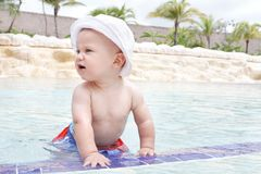 Baby Playing in Pool Royalty Free Stock Photo