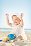 Baby playing at the sea Royalty Free Stock Photo
