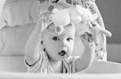 Baby playing sitting in the cradle Royalty Free Stock Image