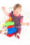 Baby playing with soft toy Royalty Free Stock Photo