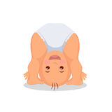 Baby playing standing on his head. Little child playing upside down. Isolated baby on the white background. Raster copy.  Stock Image