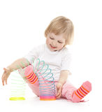 The baby is playing with a toy Royalty Free Stock Photography