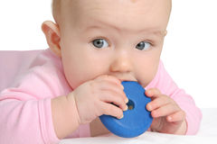 Baby playing with a toy. (girl 5 month Royalty Free Stock Photos