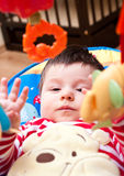 Baby playing with toys. Portrait of baby boy in chair playing with overhead mobile toys Stock Image
