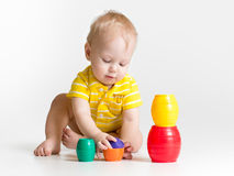 Baby playing toys Stock Photos