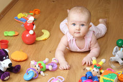 Baby playing with a toys. (girl 6 month Royalty Free Stock Images