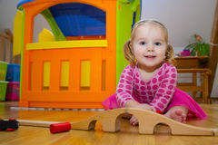 Baby playing with toys. (18 month&#x29 Stock Photography
