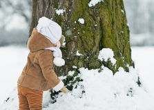 Baby playing with tree in winter . rear view Royalty Free Stock Photos