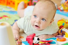 Baby on the playmat Stock Photo