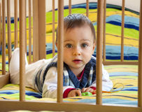 Baby in a playpen. Portrait of a baby laying on his tummy on a colorful blanket in a playpen Stock Photos