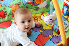 Baby in playpen. Baby playing with toys in playpen Royalty Free Stock Images