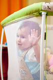 Baby in playpen.  Royalty Free Stock Image