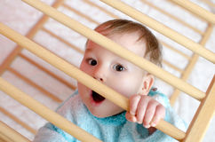 Baby in a playpen. Little astonished boy in playpen Stock Image