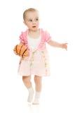 Baby plays ball stock photo