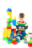 Baby plays with blocks Royalty Free Stock Images