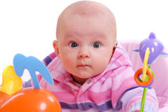 A baby plays with toys Royalty Free Stock Photos