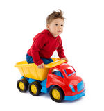 Baby plays with truck toy Royalty Free Stock Photo
