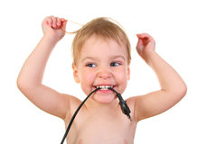 Baby with plug Stock Images