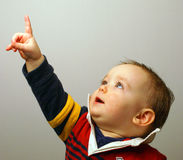 Baby Pointing. A baby boy, a little older than one, is pointing upward Royalty Free Stock Photography
