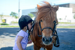 Baby and pony Stock Images