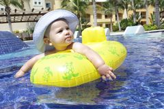 Baby in Pool Royalty Free Stock Image