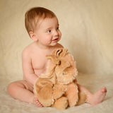 Baby Portrait. A portrait of a cute caucasian baby or toddler on smooth background Royalty Free Stock Image