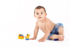 portrait of baby boy on white background Stock Image