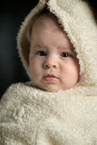 Baby portrait. Baby is wearing a warm winter coat Royalty Free Stock Photo