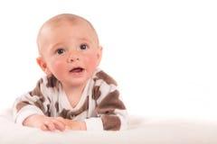 happy little boy on blanket Stock Photo