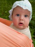 Baby portrait in sling. Five month baby outdoor portrait in sling with astonishing face expression Stock Photo