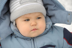 Baby portrait in winter Royalty Free Stock Photo
