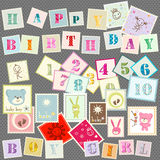 Baby postage. Cute set of letters, numbers and various elements Vector Illustration