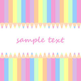 Baby postcard background with colored pencils Stock Photos