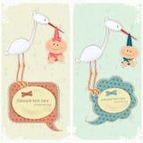 Baby postcard in vintage style. Stork holding newborn - illustration Stock Photo