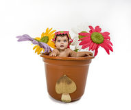 Baby in a pot. A baby is stuck in a pot Royalty Free Stock Photography