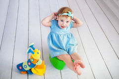 Baby on potty play - learning to use toilet Royalty Free Stock Images