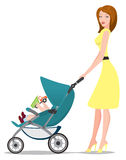 Baby pram. Young woman pushing a baby pram Royalty Free Stock Photos