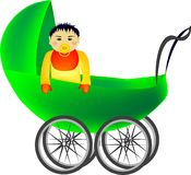Baby in pram. A green pram with a baby kneeling and looking out of it Stock Photos