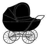 Baby pram, black silhouette Royalty Free Stock Photography