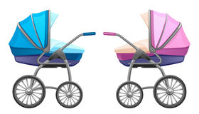 Baby pram. Blue and pink on a white background Stock Photography