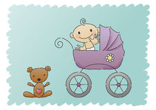 Baby in Pram - Hand-drawn Stock Photography