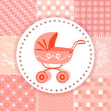 Baby pram on a patchwork background Royalty Free Stock Image